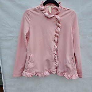 Pink Matilda Jane sweatshirt jacket with ruffle